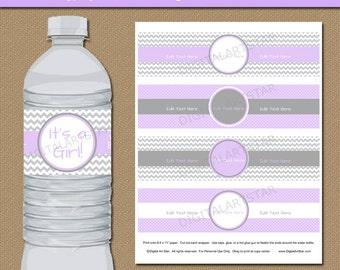 lavender u0026 grey baby shower water bottle labels printable water labels editable pdf