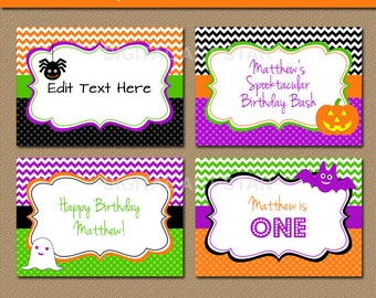 Halloween Chevron Candy Buffet Labels, EDITABLE Printable Tent cards, DIY Food Labels, Orange Black Halloween Place Cards - INSTANT