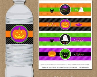 Halloween Water Bottle Labels - Halloween Labels DIY Printable Drink Wrappers - INSTANT DOWNLOAD Halloween Drink Labels - Spider Labels
