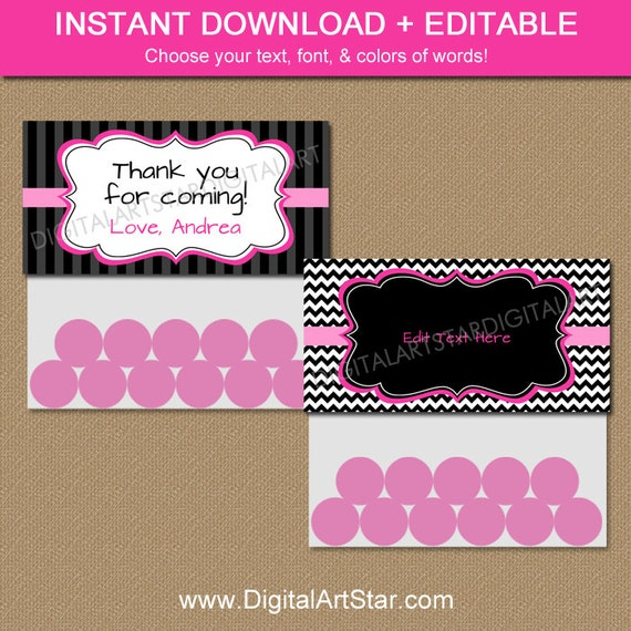 Printable Pink & Black Goodie Bag Toppers Chevron Modern DIY