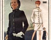 """1960's Vogue Paris Original One-Piece Dress and Jacket Pattern - Yves Saint Laurent - Bust 38"""" - No. 1900"""