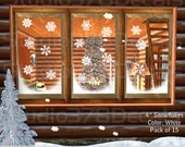 Snowflakes - 4in Window Decals - Christmas Holiday Decorations - Winter Decor - Vinyl Window Decals - 15 Pack