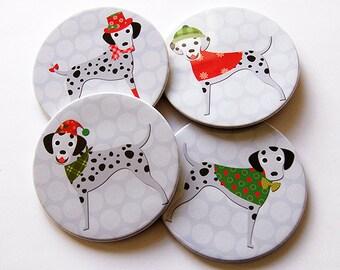 Dalmatian Coasters, Christmas Coasters, Coasters, Hostess Gift, Christmas Dogs, Polka Dot, Dalmatian dog, Red, Green (5222)