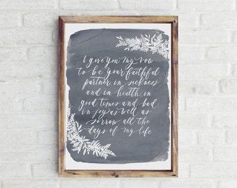 DIGITAL DOWNLOAD - wedding vows in dark grey