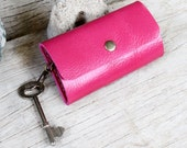 Pink genuine cow leather key holder/ able to request name or initals stamping inside