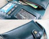 Mini Colourful 2 Closure teal wallet with plastic window, mini zip and wristlet strap