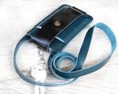 Neck strap/ Teal-black leather iphone wallet