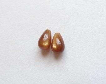 AA Grade Gold Sunstone Half Top Drilled Mini Teardrops 6x10 mm One Pair L4194