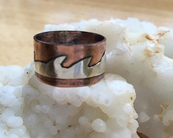 Rustic Copper Ring / Copper Wave Ring / Copper Statement Ring