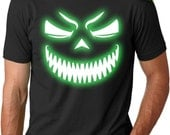 Mens SCARY Pumpkin Glow Face T-Shirt glow in the dark, halloween costume, spooktacular, spooky black, guys shirts, boyfriend gift S-5XL
