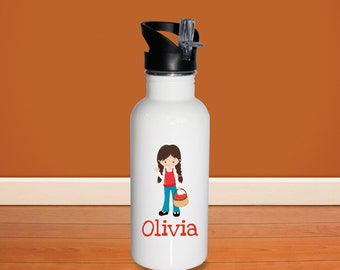Apple Picking Kids Water Bottle - Apple Fun Time Girl Basket with Name, Child Personalized Stainless Steel Bottle BPA Free Back to School