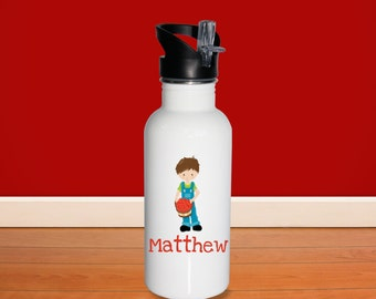 Apple Picking Kids Water Bottle - Apple Fun Time Boy Basket with Name, Child Personalized Stainless Steel Bottle BPA Free Back to School