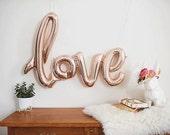 "Love script Rose Gold Mylar Foil Balloons - 40"" Long - Wedding - Bridal Shower - Bachelorette Party"