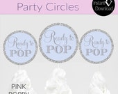 Blue and Silver Glitter INSTANT DOWNLOAD Ready to Pop Party Circles - Glitter Cupcake Toppers -Printable Cupcake Toppers