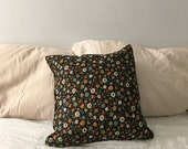 quilted flower print throw pillow. mid century 1970s throw pillow. floral bohi flower print pillow