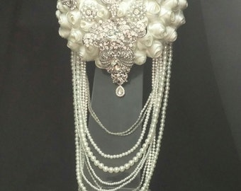 Crystal and pearl  brooch bouquet with pearl  & rhinestone drape