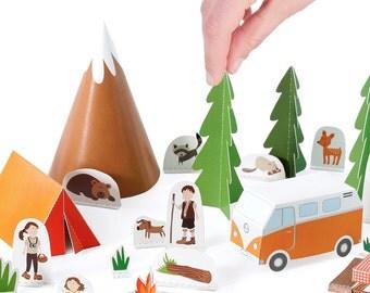 Camping Paper Toy - DIY Paper Craft Kit - Papercraft Kids