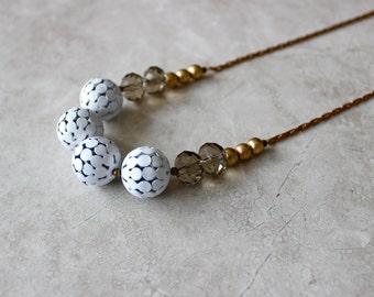 White Statement Necklace, Brass Snakechain, Fun Necklace