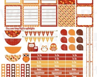 Autumn Days Printable Planner Stickers #1 Owls, Pumpkins, Weekend Banners, Titles, Icons and more