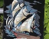 """Ship Paint by Number PBN Oil Painting Black Velvet Framed 12"""" x 9"""" Vintage"""