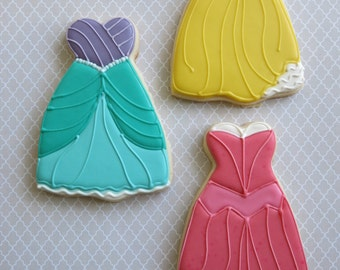Disney Inspired Princess Dress Sugar Cookies - 1 Dozen