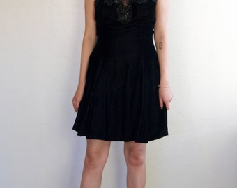 Vintage Black Velvet Skater Dress Lace & Tulle