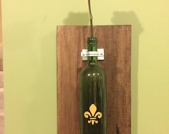 Treated Pine Indoor/Outdoor Fleur de Lis Wine Bottle Wall Vase- Base Only or Base & Bottle