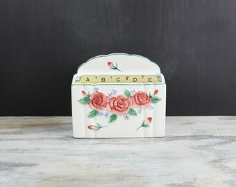 Vintage Ceramic Embossed Roses Recipe File by Mary Ann Baker