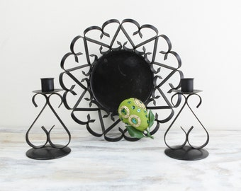 Vintage Mid Century Iron Centerpiece, Fruit bowl and Candlestick Holders