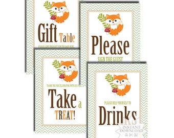 Fox Table Signs-Party Table Signs-INSTANT DOWNLOAD