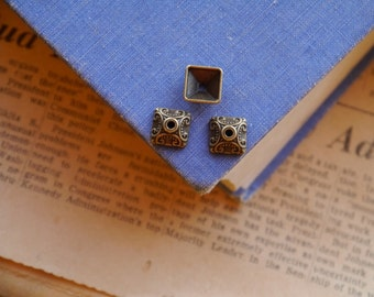 20 pcs Square Bronze Intricate Scroll Detail Tassel Bead Caps 10mm (fit 9-14mm bead) (BEC2706)