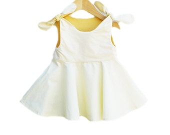 Todder Twirl Dress - Vanilla and Sunflower Colors- Children Clothing - Picnic Dress - Infant Clothing - Spring Wear - Handmade in USA