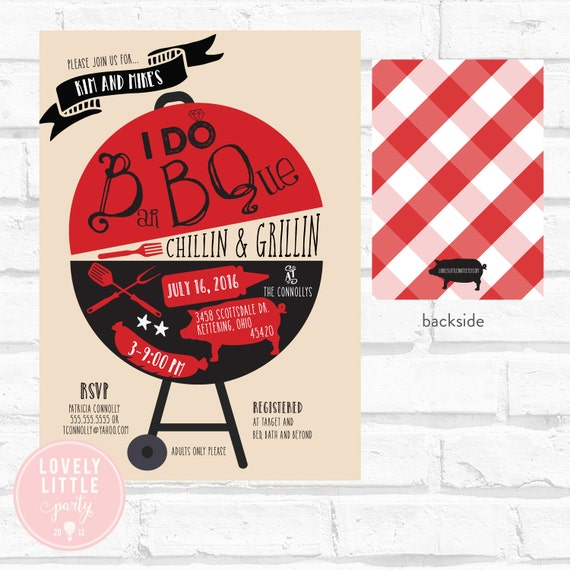 I Do BBQ Invitation, Grillin & Chillin, Wedding Shower BBQ, Co-Ed Wedding Shower, DIY Printable or Printed -  Lovely Little Party