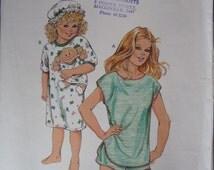 Girls nightie and matching doll nightie Cabbage patch doll clothes Kwik Sew 1564 girls sleepwear sizes 4 to 7