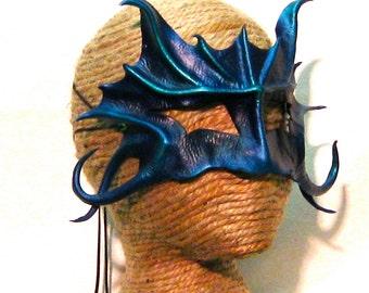 Merman or Mermaid Mask, Neptune Mask, Deep Blue and Violet Creature, Dark Fairy, Water Dragon, Leather Art Mask