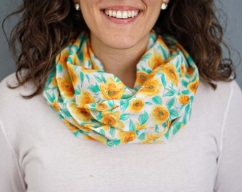 Orange, Yellow, and Green Floral Print Linen Infinity Scarf