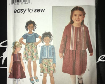 Uncut sewing pattern for Simplicity #8816 Girl Toddler Child's Full Skirt Gathered to Bodice Dress & Jacket Size 3 4 6 7 8 YMA47R