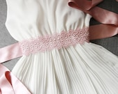 Bridal Rose Quartz Rose Gold Taupe Embroidery Lace Flower Satin Sash Belt - Wedding Dress Sashes Belts - Posh Double Sided Ribbon