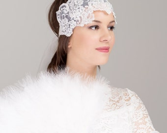 Bridal Beaded Lace Headband Headpiece - 20s Inspired Pearl Beading Embroidery Flower Wedding Hair Accessories