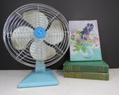Vintage Aqua Blue Fan // Non-Working Decorative Oscillating Fan Superior Electric Mid Century Home Decor Needs Cord Tabletop or Wall Mount