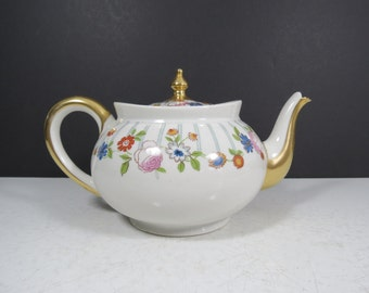 Antique French China Teapot // Jean Pouyat Limoges Early 1900's Elegant Floral Pattern Striped Tea or Coffee Pot with Gold Details