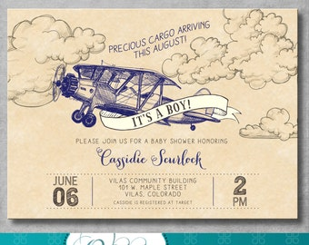 Vintage Airplane Baby Shower Invitation - Precious Cargo - Navy Blue - Baby Boy Shower - Birthday - Printable - Digital - DIY - Invite