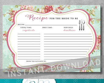 Printable Recipe Card - Bridal Tea Recipe Card - Stock the Kitchen Bridal Shower Recipe Card - Shabby Chic - Digital - INSTANT DOWNLOAD
