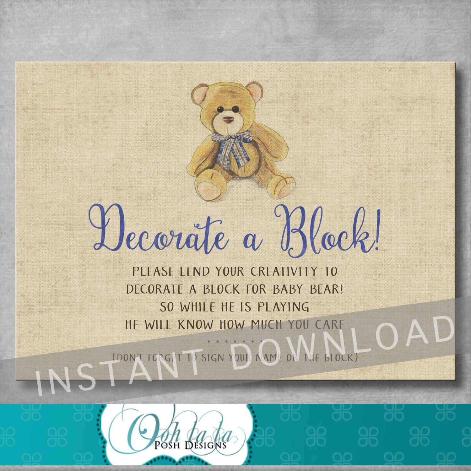 Decorate a Block Sign Baby Shower Game Vintage Teddy Bear
