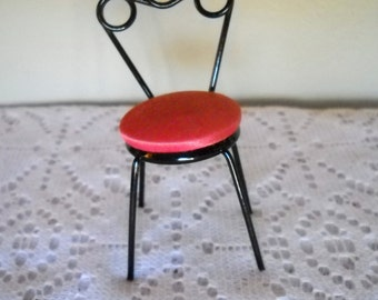 Vintage Miniature Chair, Black Metal Doll House Chair, 1950's Style Chair, Pink and Black Doll Chair, Collectible Doll Furniture