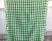 Lovely Hand Crocheted Lap Throw Afghan 52 x 46 Green Plaid
