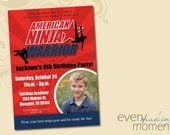 American Ninja Warrior Invitation - Ninja Birthday Invitation - Ninja Warrior Birthday Party Invitation printable, personalized with picture