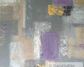 Abstract Painting Gray Modern Art Tan Metallic Gold Purple 24 x 36 Canvas