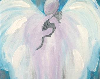 "Angel Cat Painting PRINT Pet Remembrance Memorial Gift Tiger Cat Guardian Angel Art 8"" x 10"""