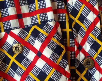 70s checked shirt gold buttons red, yellow, white Division II Vintage Womens Smal